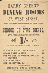 Advert For Harry Green's Dining Rooms